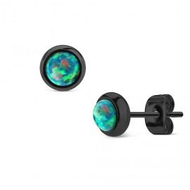 Černé ocelové náušnice se zelenými opály
