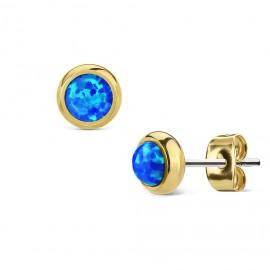 Zlacené ocelové náušnice s modrými opály