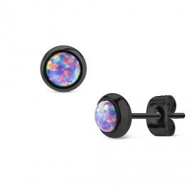 Černé ocelové náušnice s fialovými opály