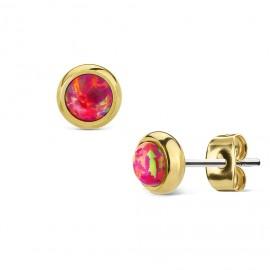 Zlacené ocelové náušnice s tmavě růžovými opály