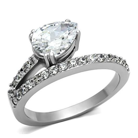 Ocelový prsten s čirými zirkony