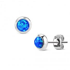 Ocelové náušnice s modrými opály