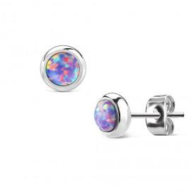 Ocelové náušnice s fialovými opály