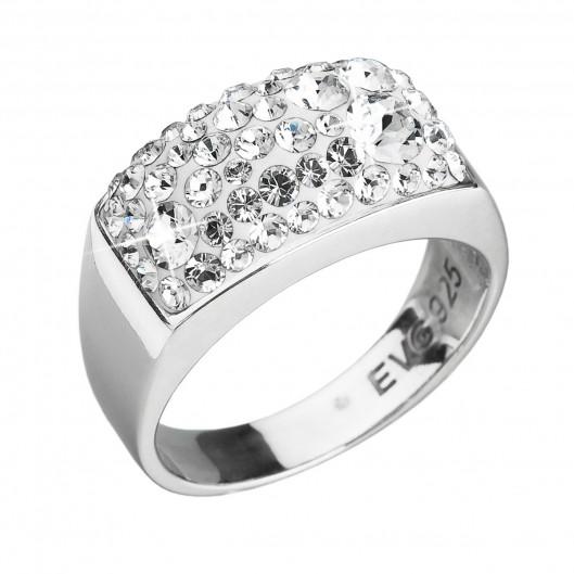 Stříbrný prsten s krystaly Swarovski bílý 35014.1 krystal