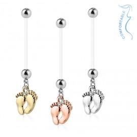 Těhotenský piercing do pupíku - stopy