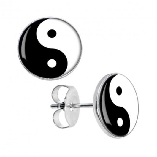 Ocelové náušnice Jing-Jang, 10 mm