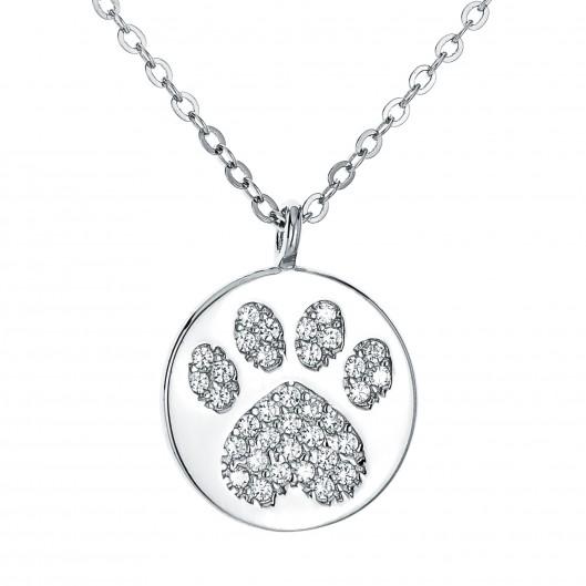 Střibrný náhrdelník kolečko - psí tlapka