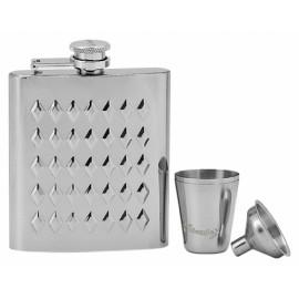 Ocelová kapesní lahev - placatka 185ml + 2 kalíšky 30ml a trychtýřek