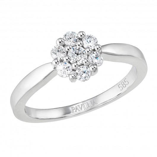 Zlatý prsten 85016.1 bílé zlato s brilianty