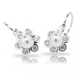 Cutie Jewellery Dívčí náušnice na patent Cutie C2489-Ag White