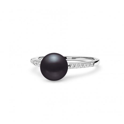 Stříbrný prsten s černou perlou a zirkony