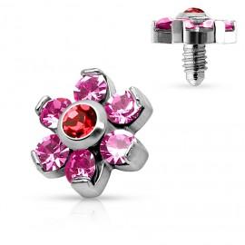 Microdermal - ozdobná část kytička, růžové kamínky