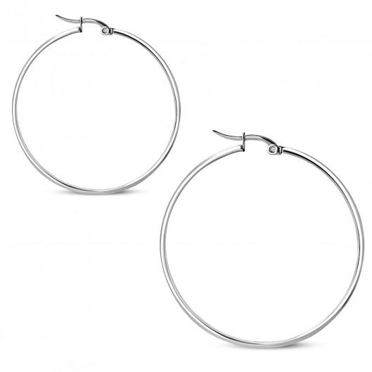 Ocelové náušnice - kruhy 45 mm, tl. 3 mm