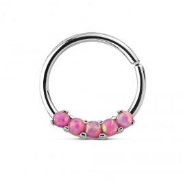 Piercing do nosu/ucha kruh s růžovými opály