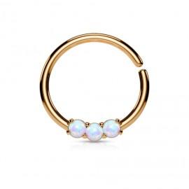 Zlacený piercing do nosu/ucha kruh s bílými opály
