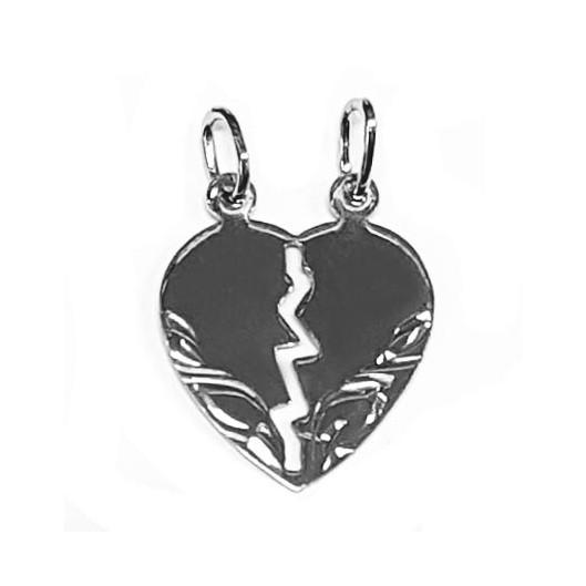 Stříbrný přívěšek párový - srdce dělené malé