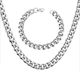 Páský set ocelový řetízek a náramek, tl. 10 mm