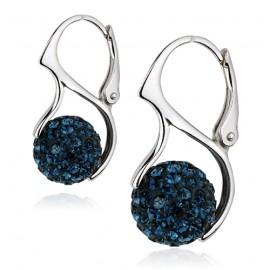 Stříbrné náušnice kuličky s krystaly Crystals from Swarovski®, Dark Blue