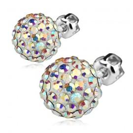 Stříbrné náušnice kuličkys krystaly Crystals from Swarovski®, Crystal AB