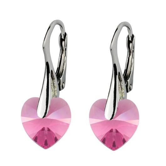 Stříbrné náušnice srdíčka s krystaly Crystals from Swarovski® 3f278e4135b