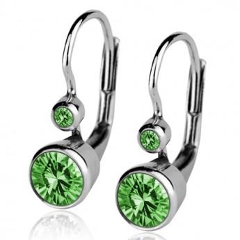 Stříbrné náušnice, zelené zirkony
