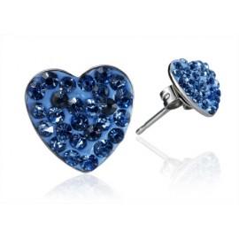 Ocelové náušnice srdíčka 8 mm - světle modré krystaly ESW1037