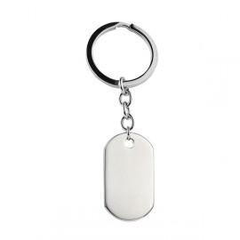 Ocelový přívěšek na klíče - destička s rytinou QR kódu