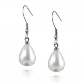 Ocelové náušnice perličky kapky bílé