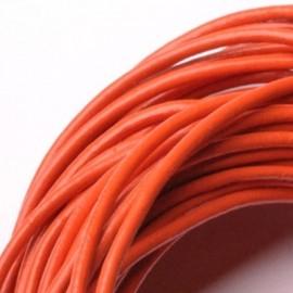 Kožená šňůrka kulatá tmavě oranžová, tl. 2 mm