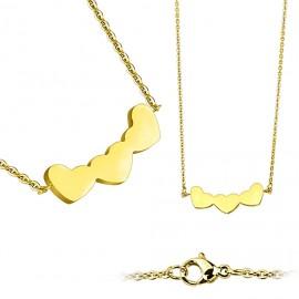 Zlacený ocelový náhrdelník se srdíčky
