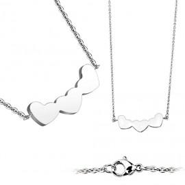 Ocelový náhrdelník se srdíčky