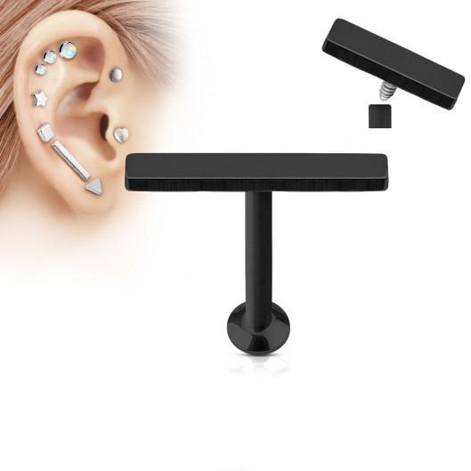 Černý piercing do brady - labreta 1,2 x 6 mm, obdélník 2 x 12 mm