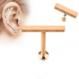 Zlacený piercing do brady - labreta 1,2 x 6 mm, obdélník 2 x 12 mm