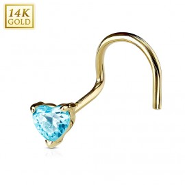 Zlatý piercing do nosu - srdíčko, Au 585/1000