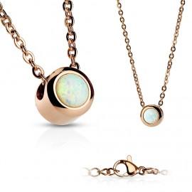 Zlacený ocelový náhrdelník s opálem bílé barvy