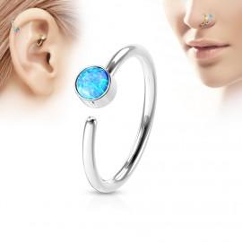 Piercing do nosu/ucha kruh, opál modrý