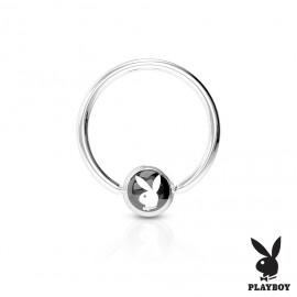Piercing - kruh Playboy - černý,  1,6 x 12 mm