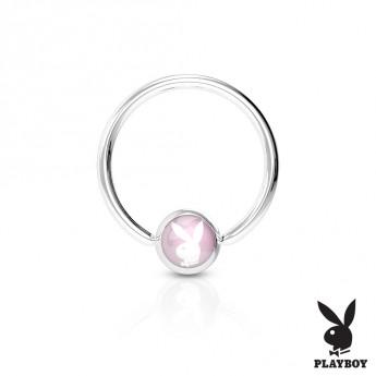 Piercing - kruh Playboy - růžový,  1,6 x 12 mm