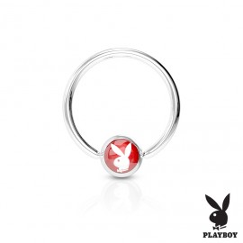 Piercing - kruh Playboy - červený,  1,6 x 12 mm