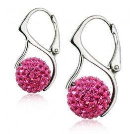 Stříbrné náušnice kuličky s krystaly Crystals from Swarovski®, Pink