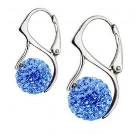 Stříbrné náušnice kuličky s krystaly Crystals from Swarovski®, Light Blue