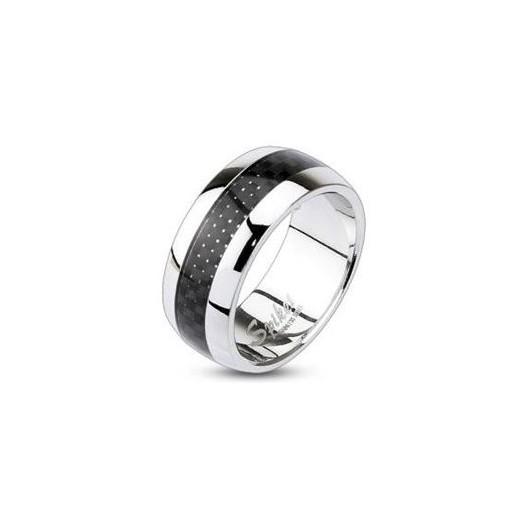 Ocelový prsten s karbonem, šíře 9 mm