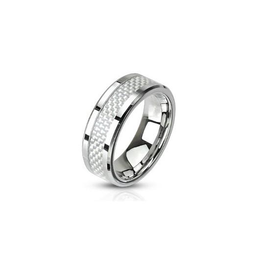 Ocelový prsten zdobený karbonem, šíře 8 mm