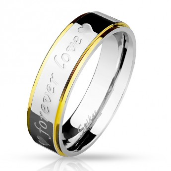 "Ocelový prsten s textem ""Forever Love"""