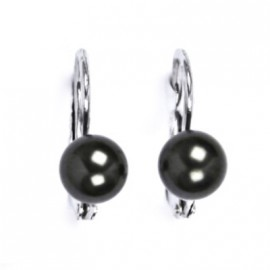 Stříbrné náušnice s černými perličkami Crystals from SWAROVSKI®
