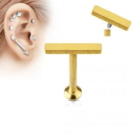 Zlatý piercing do brady - labreta 1,2 x 6 mm, obdélník 2 x 9 mm