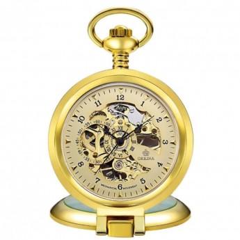 1a9486608 Zlacené mechanické kapesní hodinky otevírací - cibule Hodinky