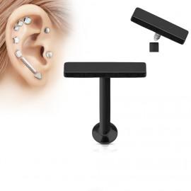 Černý piercing do brady - labreta 1,2 x 6 mm, obdélník 2 x 9 mm