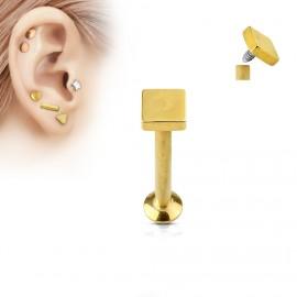 Zlacený piercing do brady - labreta 1,2 x 6 mm, čtverec