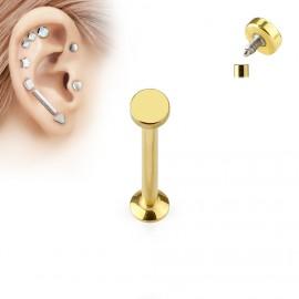 Zlatý piercing do brady - labreta 1,2 x 6 mm, kolečko 4 mm